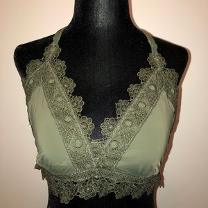 Aerie lace bralette  size XL army green in color